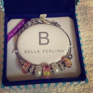 Silver charm bracelet with multicolored stones